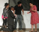 Bobbo's Bullet by Wayne Paul Mattingly. Directed by Joe Albert Lima. Left to right, Sara Beth Colten, Femi Alou, Pe'er Klein, Margie Ferris.