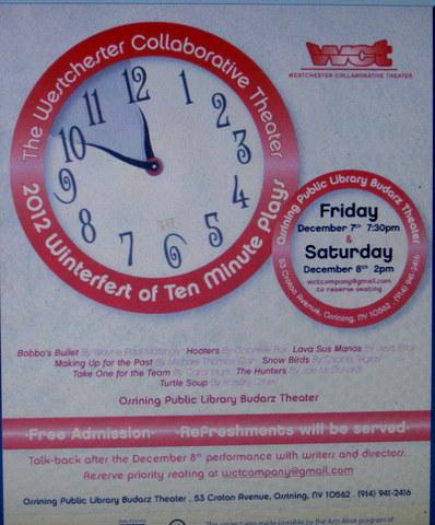 WCT Program, 2012 Winterfest of  Ten Minute Plays