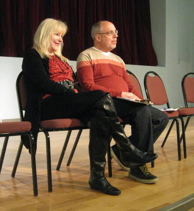 O'Neill and Lutwin after the reading listening to audience feedback.