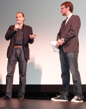 Ralph Fiennes answering a question about close-ups in his film. With Artistic Director of the HIFF David Nugent.
