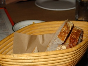 Bread basket, we've devoured most of the bread.