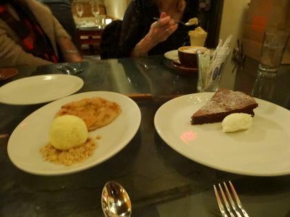 Seasonal Fruit Crostata and Vanilla Gelato and Flourless Chocolate Cake and Gelato
