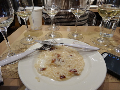 Mario's risotto which goes well with Soave.
