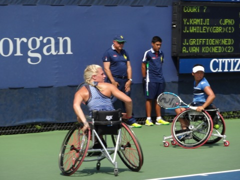 Women's Wheelchair Doubles Champtions in action. They won the 2014 Championship.