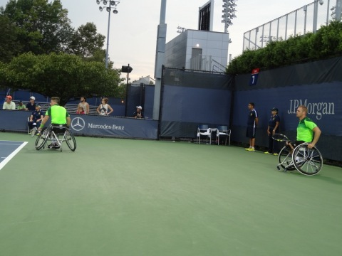 G. Reid and M. Scheffers in a tight match vs. Houdet and Kunieda. Men's Wheelchair Doubles Finals.