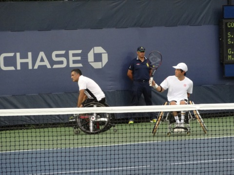 2014 Men's Wheelchair Tennis Doubles Final...the winning points for this team are being accrued: Hudet and Kunieda.
