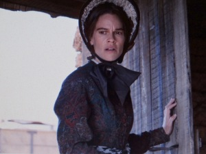 Hillary Swank as Mary Bee Cuddy in 'The Homesman.' Photo taken from the film trailer.