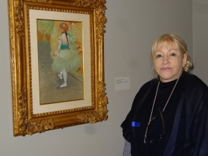 Rosary O'Neill with Degas the green dancer in NOMA (New Orleans). Photo by Carole Di Tosti