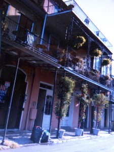 A typical street in New Orleans' French Quarter where the Hotel Monteleone is located toward Canal Street. Photo by Carole Di Tosti