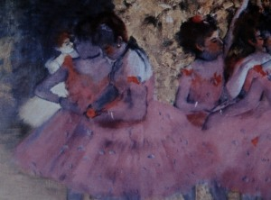 Pink Dancers, Before the Ballet, Edgar Degas (1884). Wiki site.