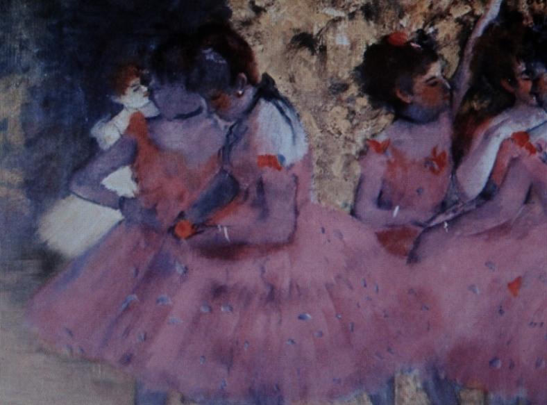 Pink Dancers, Before the Ballet, Edgar Degas (1884). Wiki site.