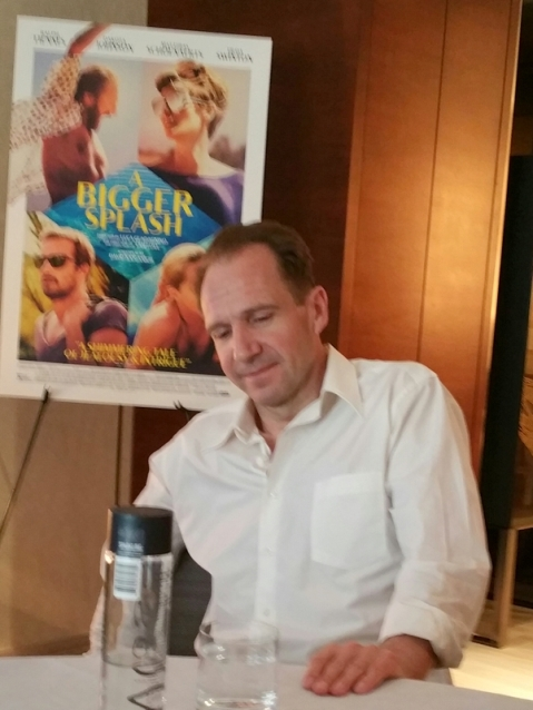 Ralph Fiennes, NYC press day at the Park Hyatt. He plays Harry Hawkes in 'A Bigger Splash,' directed by Luca Guadagnino. Photo, Carole Di Tosti