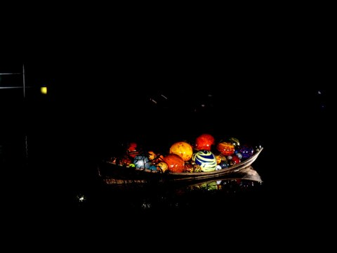 Chihuly Exhibit, Float Boat and Koda Studies #1 & 2, Chihuly Nights, NYBG 2017