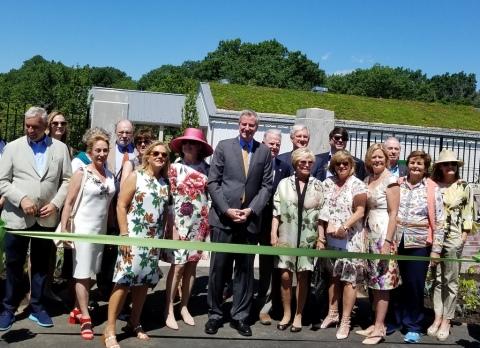NYC Mayor Bill de Blasio, Edible Academy, NYBG Chairman of the Board Maureen K. Chilton, Opening Day Ceremonies June 14