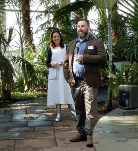 CEO NYBG Carrie Rebora Barratt and Marc Hachadourian, NYBG 'Orchid Show: Singapore,' Press Day, Palms of the World Gallery and Reflecting Pool, NYBG