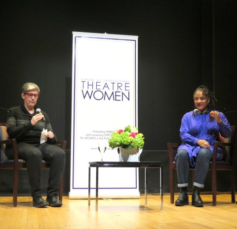 Lynn Nottage,Elisabeth Vincentelli, League of Professional Theatre Women, NYPL for the Performing Arts, Bruno Walter Auditorium Lincoln Center