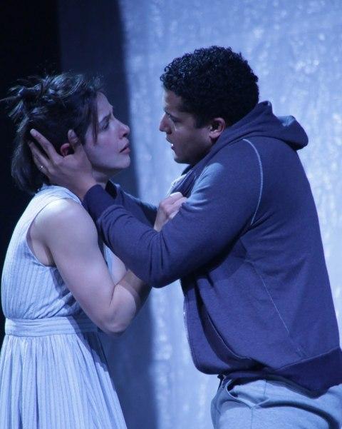Merritt Janson, Brandon J. Dirden.'The Tragedy of Julius Caesar,' directed by Shana Cooper, Theatre for a New Audience, Polonsky Shakespeare Center