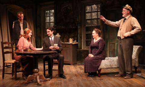 Ed Malone, Sarah Street, James Russell, Maryann Plunkett, and Ciarán O'Reilly, Irish Repertory Theatre's 2019 production, Juno and the Paycock, Neil Pepe