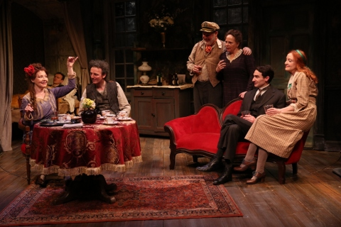 Terry Donnelly, Ed Malone, John Keating, Ciarán O'Reilly, Maryann Plunkett, James Russell, and Sarah Street, Juno and the Paycock, Irish Repertory Theatre, Neil Pepe