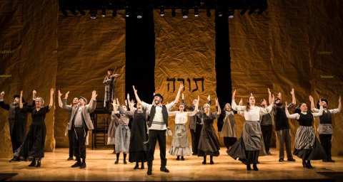 Steven Skybell, the company of Fiddler on the Roof in Yiddish, Stage 42, Joel Grey