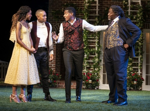 Margaret Odette, Jeremie Harris, Billy Eugene Jones, Chuck Cooper in William Shakespeare's 'Much Ado About Nothing, Kenny Leon, Shakespeare in the Park, Public Theater