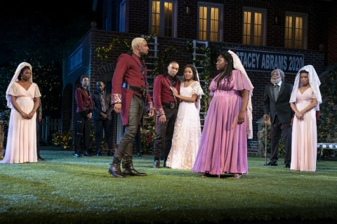 Grantham Coleman, Jeremie Harris, Margaret Odette, Danielle Brooks in William Shakespeare's Much Ado About Nothing, Kenny Leon, Shakespeare in the Park