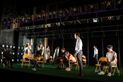 Ato Blankson-Wood, Chalia La Tour, Joaquina Kalukango (kneeling), Irene Sofia Lucio, Sullivan Jones, Annie McNamara, Paul Alexander Nolan, and James Cusati-Moyer. in 'Slave Play,' Jeremy O. Harris, Robert O'hara