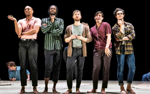(L to R): Jordan Barbour, Darryl Gene Daughtry Jr., Kyle Soller, Arturo Luis Soria, Kyle Harris, The Inheritance, Matthew Lopez, Stephen Daldry, Bob Crowley