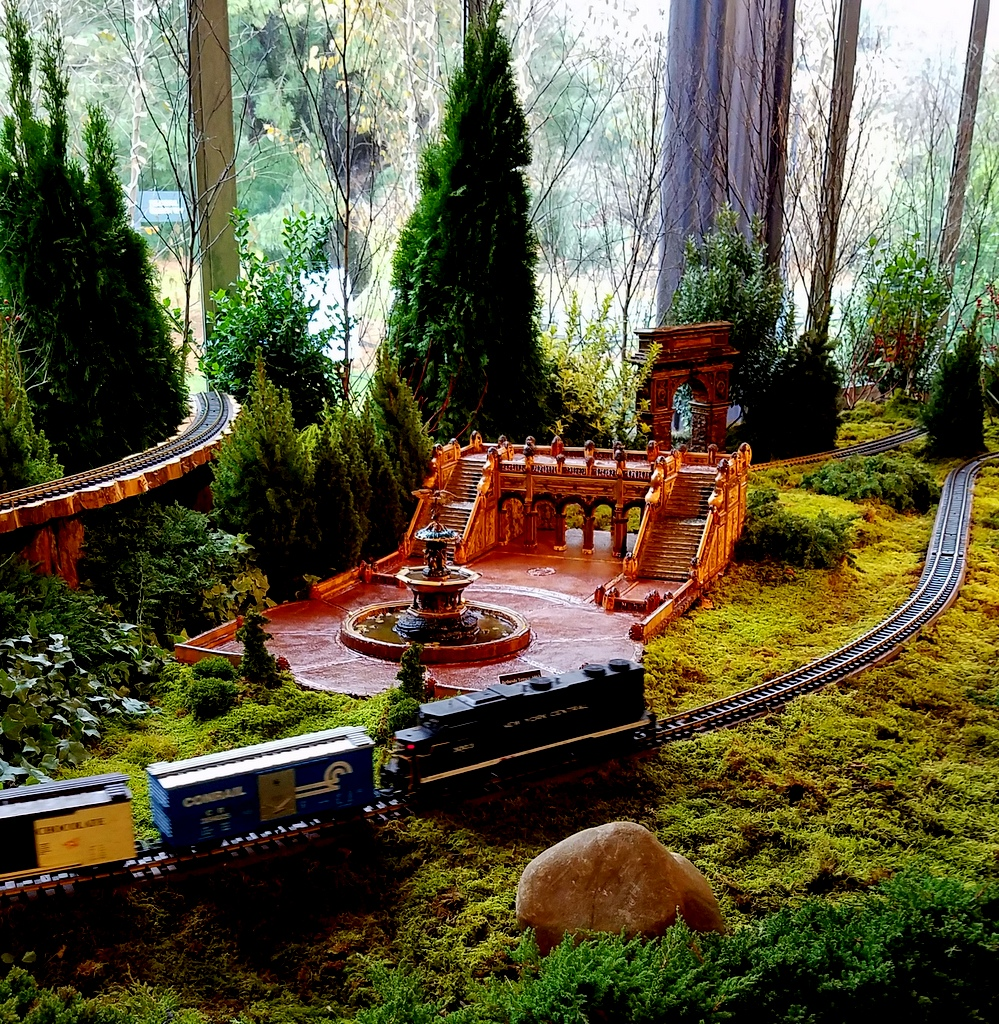 28th Holiday Train Show, NYBG, Applied Imagination, Bethesda Terrace, Angel of the Waters Fountain