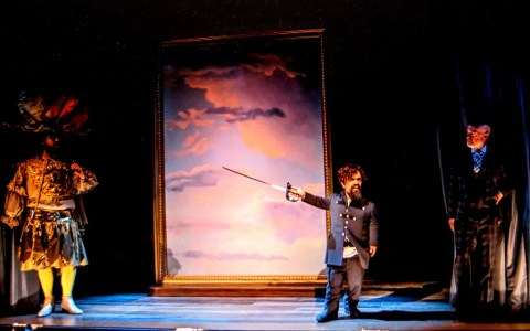Scott Stangland, Peter Dinklage, Christopher Gurr, Cyrano, The New Group, Daryl Roth Theatre